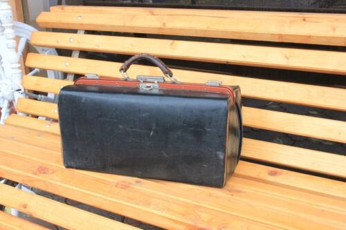 VINTAGE DOCTORS BLACK LEATHER MEDICAL BAG Luggage SUITCASE VALISE