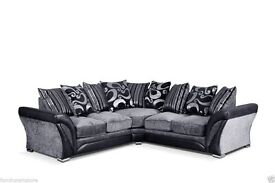 Brand New Black And Grey Corner Sofa. 240cm by 240cm