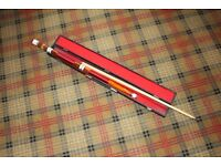 Sectional snooker cue with a case. Marked 19oz. Virtually unused.