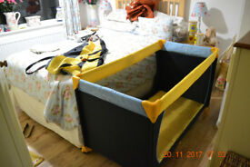 "Hauck Dream N Play Travel Cot, Yellow and Blue with 'extra' 3"" waterproof mattress"