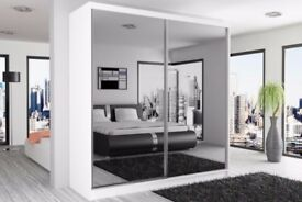 【❋❋ BEST SELLING BRAND ❋❋ 】BERLIN SLIDING WARDROBE FULLY MIRROR WITH SHELVES & HANGING RAILS