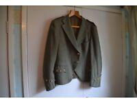 Gent's kilt outfit - tweed kilt jacket, Forbes tartan kilt, black leather sporran and belt