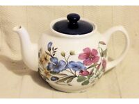Teapot with Floral Design - Perrenial Flax, Oxalis and Cinquefoil, Good Clean Condition, Histon