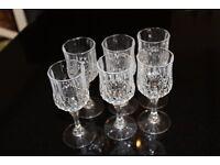 Set of 6 Longchamps Cristal d'Arques 6cl Stem Glasses.