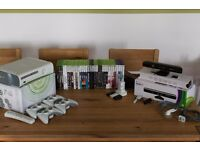 Xbox 360 Console, Kinect, 4 wireless controllers, games, charge kits and mics