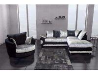 ►❤Left Hand/Right Hand❤►Brand New Dino Jumbo Cord or Diamond Crushed Velvet Corner Sofa Or 3+2 Sofa