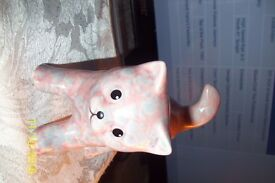 pink with blue fleckles cat ornament