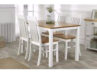 BRAND NEW 5PC 5 Piece White/Oak Table 4 Wooden Chairs Rubberwood Dining Set