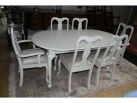louis style shabby chic table and six chairs