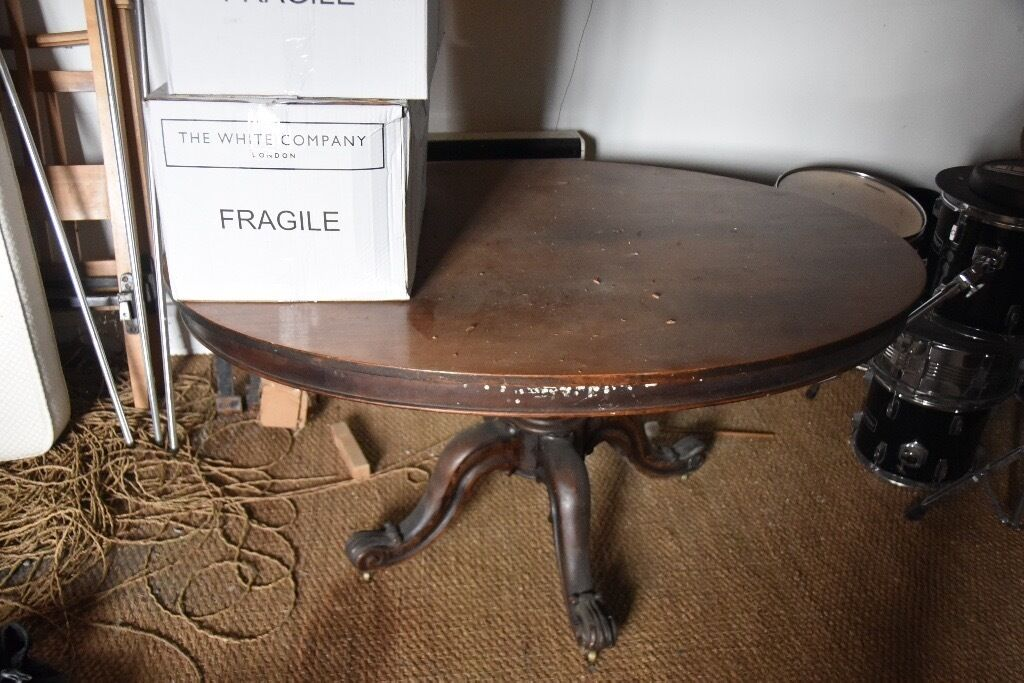 Overall dining table on wheels (three legsin Cambridge, CambridgeshireGumtree - Overall table on wheels in mahogany a beautiful and individual table. Long Diameter 153cm Short Diameter 115cm Height 73cm