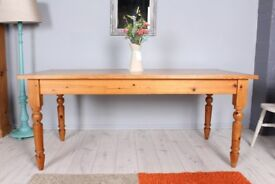DELIVERY OPTIONS - 6 FT FARMHOUSE PINE TABLE TURNED LEGS RUSTIC