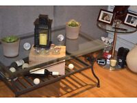 Glass coffee table with metal frame - Ikea