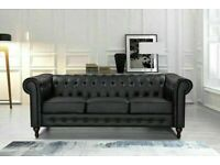 🔵BRAND NEW FURNITURE🔴CHESTERFIELD PU LEATHER SOFA 3 SEATER-CASH ON DELIVERY