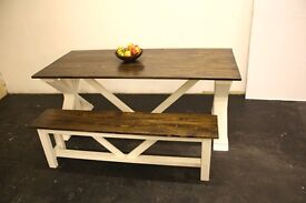 New Wooden Handmade Massive Farmhouse Dining Table 190cm x 86cm with Bench Free Delivery Nottingham
