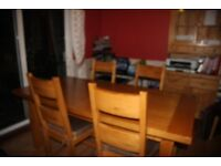 MARK ELLIOT RECTANGLE OAK DINING TABLE & FOUR CHAIRS