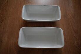 Set of 2 Ceramic Rectangular Oven Serving Baking Dish Trays