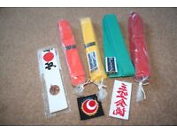 Blitz karate belts and accessories