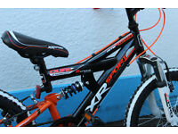 "Kids Dual Suspension Mountain Bike, 6speed gears MTB with 11""frame, 18"" wheels"