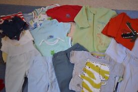 A bundle of baby boy clothes, Size 9-12 months