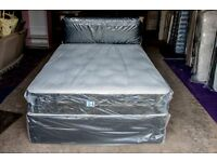 Brand New Wrapped 5 ft Kingsize Deluxe Deep Tufted Divan incl Mattress and Faux Leather Headboard