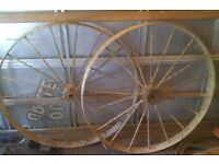 Old Spoked wheels large garden vintage display good decoration
