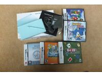 Ice Blue Nintendo DS Lite With Five Games