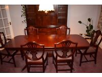 Matching Solid Mahogany Dining Table and Six Chairs, Wall Unit, Sideboard, and Corner Unit.