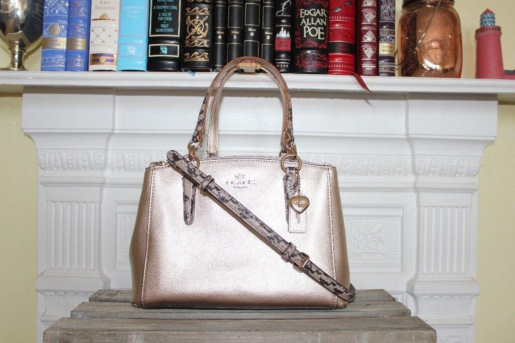 ... uk new coach christie carryall gold platinum metallic leather crossbody  bag satchel purse clutch ebb2a 799f9 f2663ff86bd77