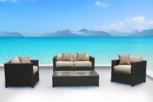 FREE Delivery in Courtenay! Outdoor Patio Wicker Sunbrella Conversation Sofa Set by Cieux! Brand New!