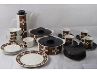 Vintage Retro 1960's J&G Meakin 28 Piece China Coffee Dinner Set Maori design