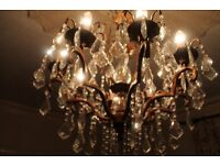 large metal copper coloured and glass chandelier with 121 droplets