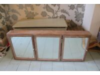 Vintage Wooden Bathroom Cabinet Limewashed Pine with 3 Mirror Doors and Shelves
