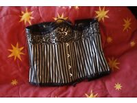 Steel boned silver and black underbust corset. Victorian, 1930s, steampunk, gothic, smart