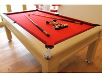 Luxury Red Cloth Pool/Snooker Table with 2 cues, 2 ball sets, 1 rack and a Table Brush