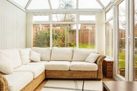 Rattan conservatory corner sofa furniture,3 scatter cushions