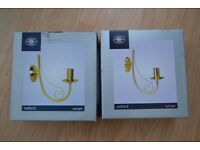 Pair of Oxford satin gold effect wall lights. - BRAND NEW -