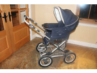 Silver Cross Pram/Pushchair/Crib/Baby Carrier in Navy. Excellent condition