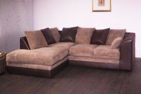 Now On Brand New Byron Jumbo Cord Fabric Leather Corner Unit Or