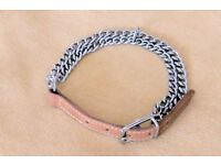 NEW Leather and Chain Dog Collar for Medium to Large Dog (neck size up to 17 inches), Histon