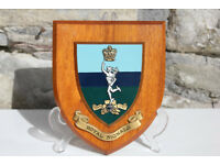 Vintage Royal Signals Regimental Plaque on Wood Military Militaria Army Armed Forces