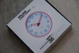New Karlsson Pink Splash Lovey Dovey Wall Clock