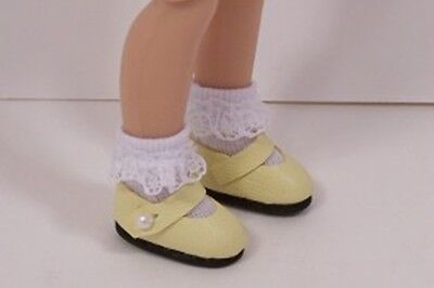 """CREAM Patent Heart Doll Shoes For Tiny 8/"""" Ann Estelle /& Tiny Betsy McCall Debs"""