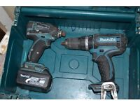 A second hand Makita 18V li-ion cordless drill set.