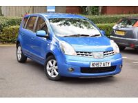 57 PLATE NISSAN NOTE ACENTA 1.4 PETROL*3 MONTHS FREE WARRANTY*BREAKDOWN COVER*BLUETOOTH*