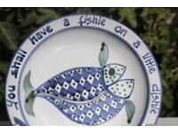 Unusual Vintage Studio Pottery Plate / Dish Cat Food Dish Fish Art Pottery Blue White