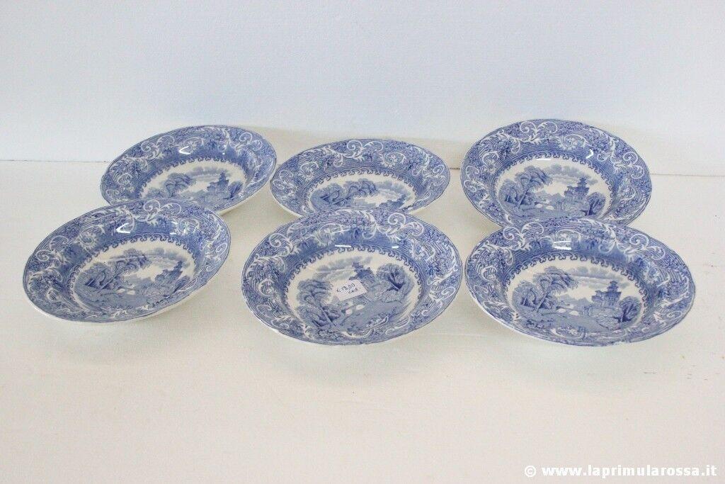 Set di sei ciotole inglesi depoca in ceramica bianco e blu vintage