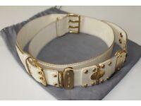 Miu Miu Womens Genuine Cream Leather Belt - £65