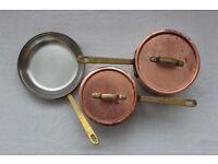 Copper Pans x3