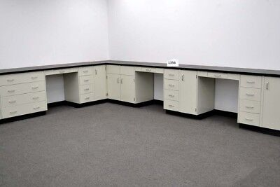 34 Ft Laboratory Furniture Cabinet Group W Bench Areas Black Tops E1-513