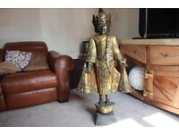 LARGE 125CM HIGH GOLD PAINTED HAND CARVED WOODEN THAI BUDDHA